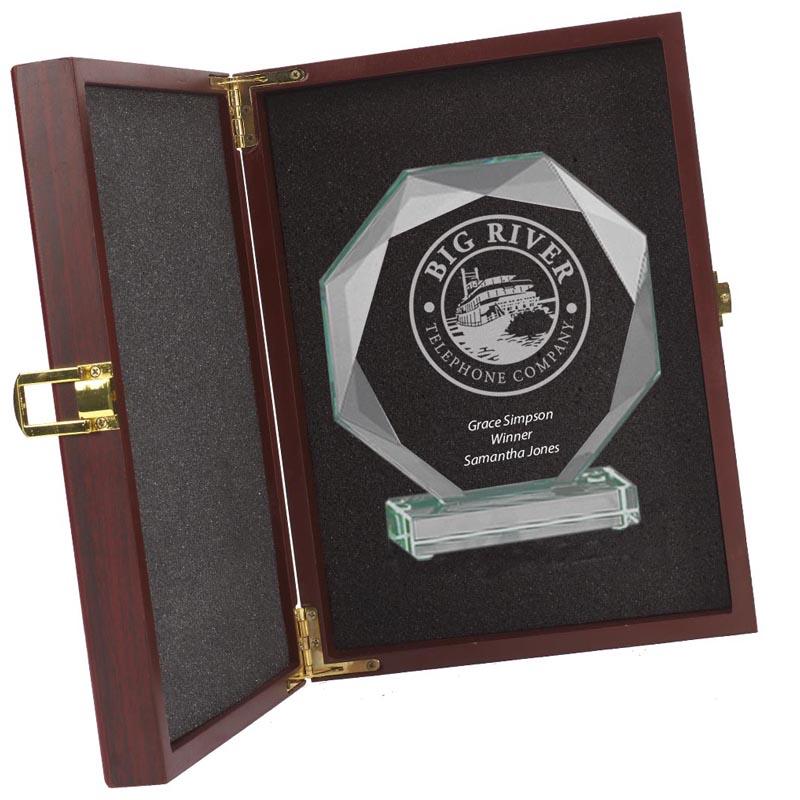 8 x 6 Inch Octagon Diamond Edge Jade Glass Award