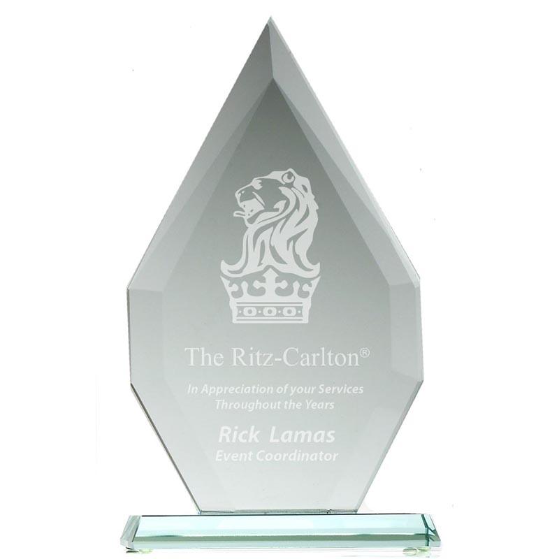 8 Inch Straight Edged Flame Heavyweight Jade Glass Award