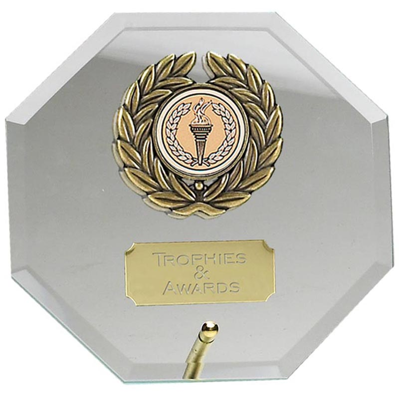 5 Inch Laurel Octagonal Jade Glass Award