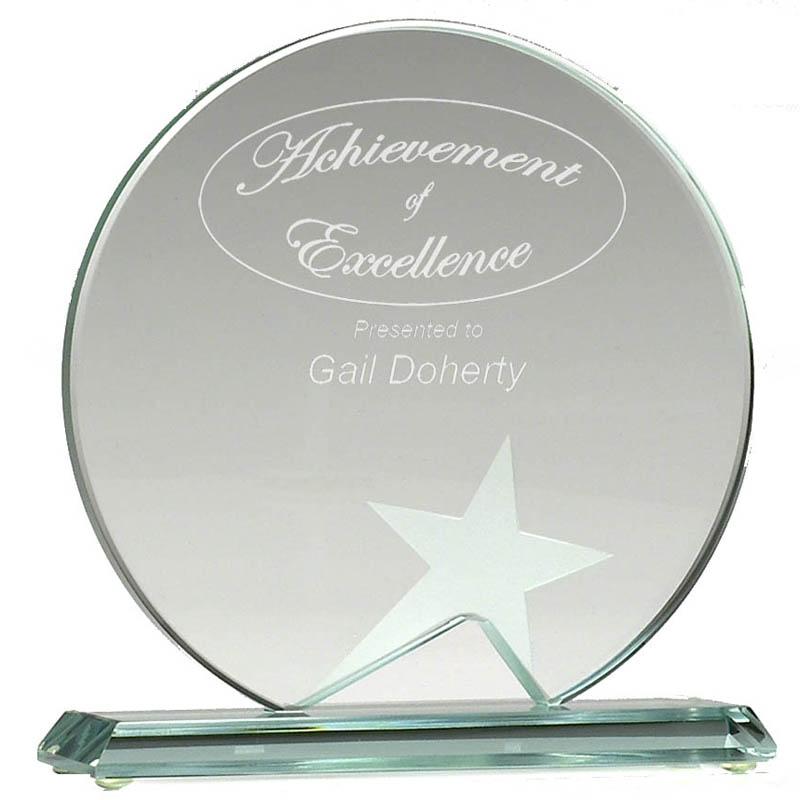 4 Inch Round Star Aspire Jade Glass Award