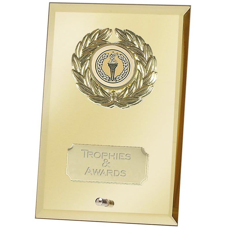 7 Inch Gold Mirror Crest Jade Glass Award