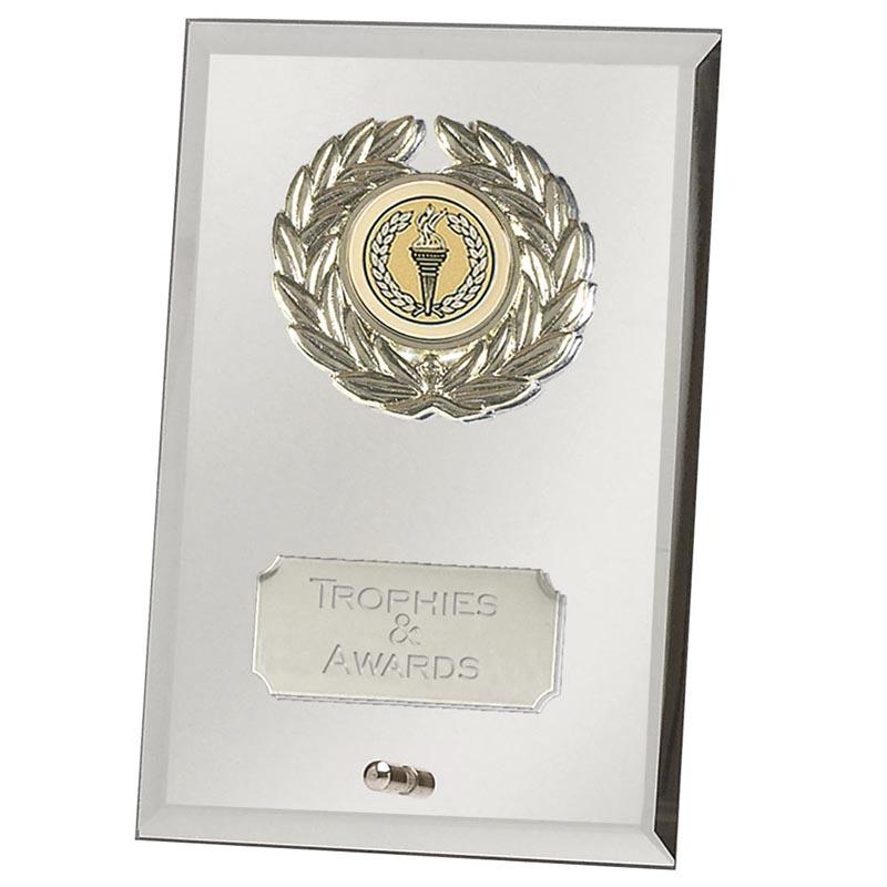 7 Inch Silver Mirror Crest Jade Glass Award