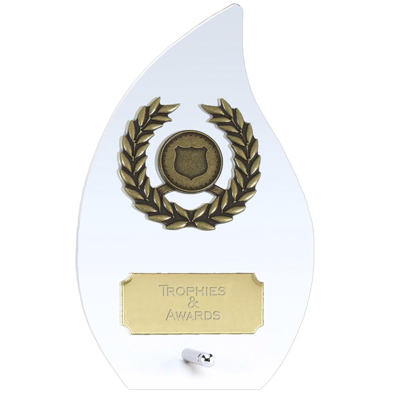 6 Inch Flame Laurel Wreath Hope Glass Award
