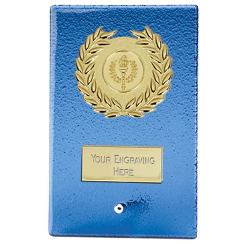 6 Inch Blue Rectangular Arctic Glass Award