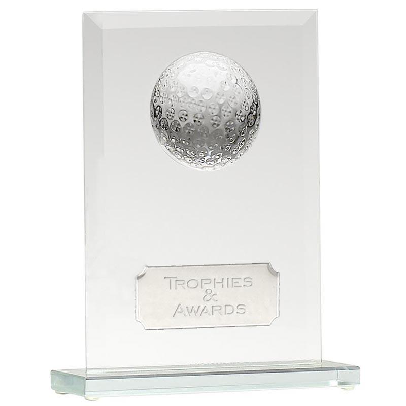 7 Inch Oblong Golf Ball Glass Golf Award