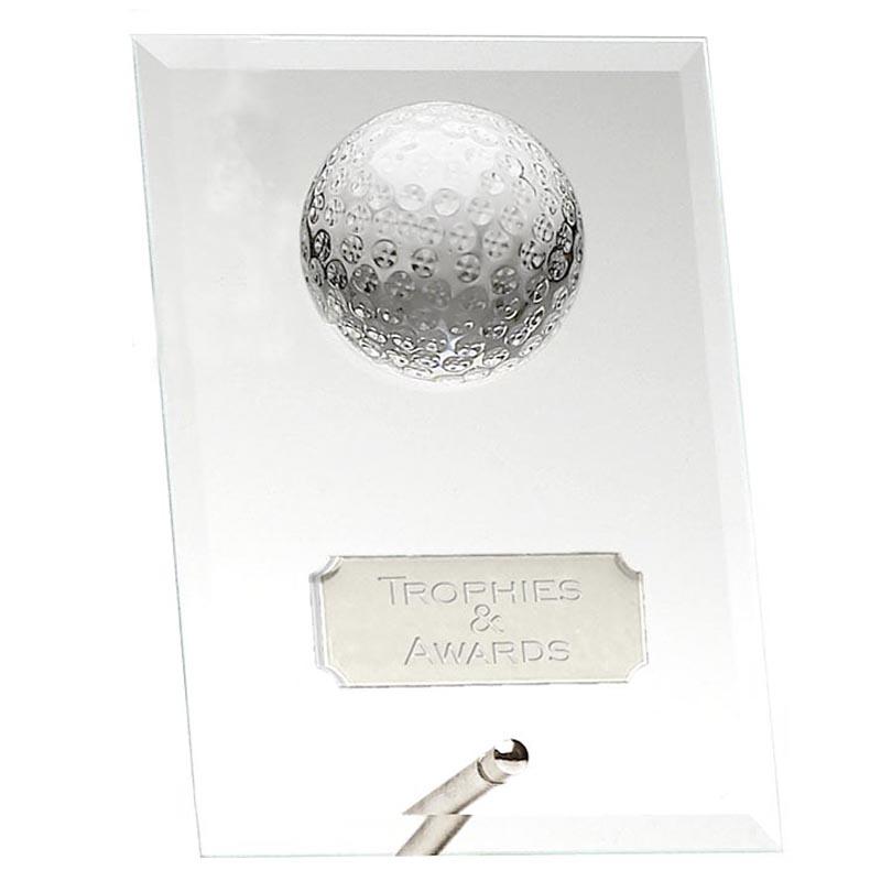 5 Inch Oblong Golf Ball Glass Golf Award