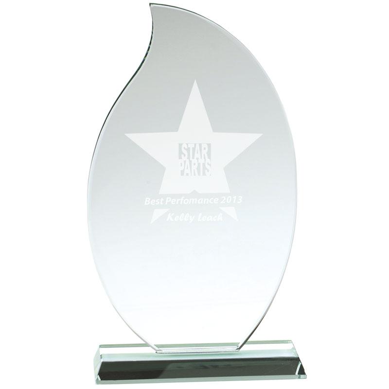 7 Inch Flame Jade Glass Award
