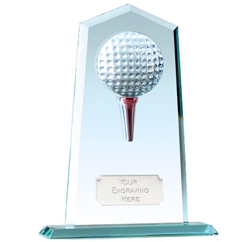 7 Inch Tee and Ball Golf Brompton Jade Glass Award