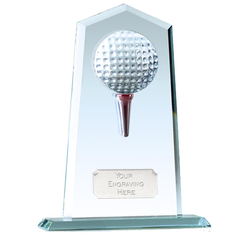 8 Inch Tee and Ball Golf Brompton Jade Glass Award