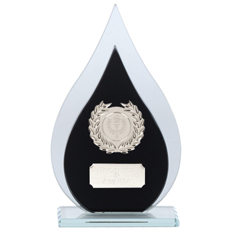 7 Inch Blacn & Clear Drop Faith Glass Award