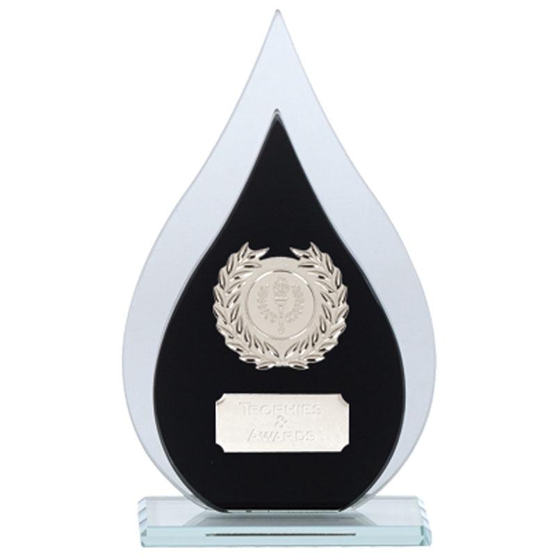 8 Inch Blacn & Clear Drop Faith Glass Award