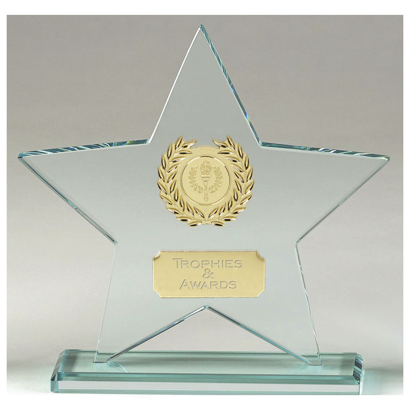 9 Inch Transparent Star Major Glass Award