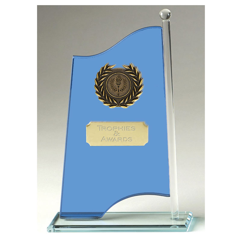 9 Inch Blue Flag Banner Glass Award