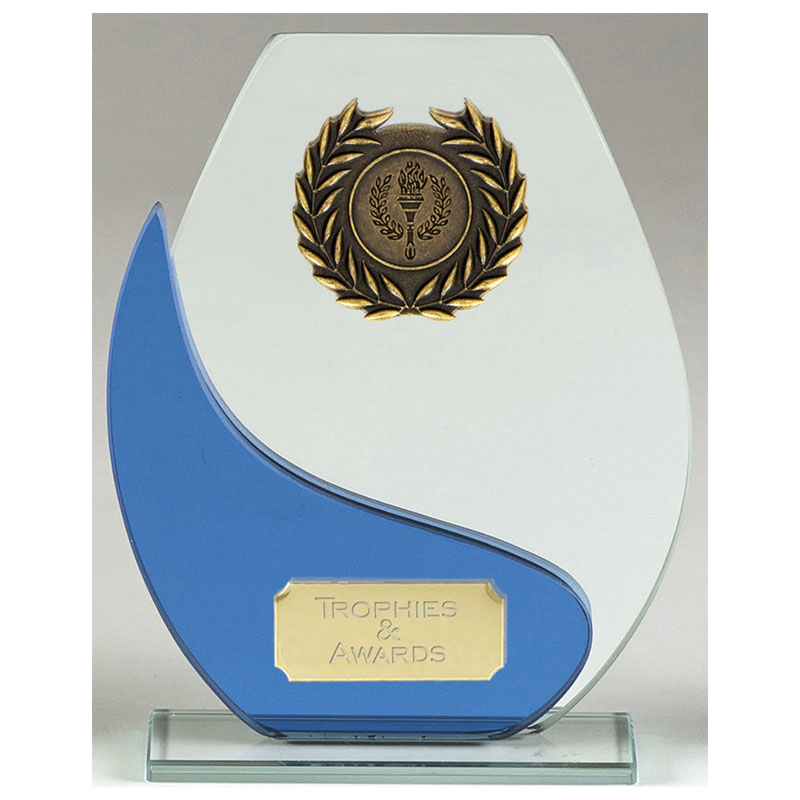 7 Inch Free Standing blue & Clear Balance Glass Award