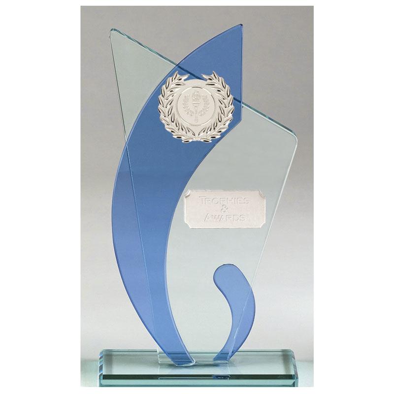 9 Inch Blue Curve Glass Award