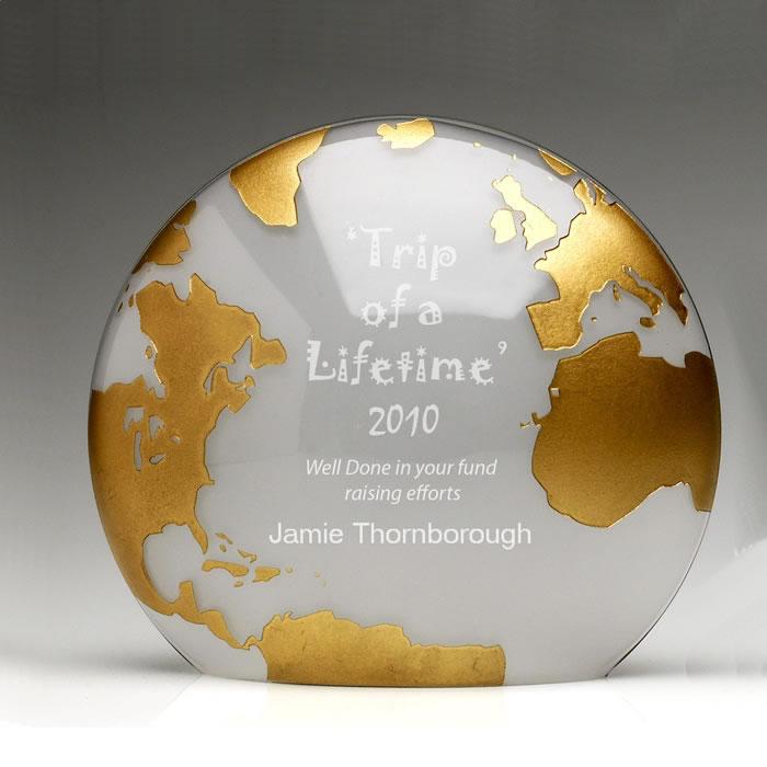 7 Inch Gold Globe Glass Award