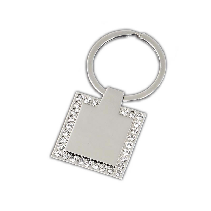 33 x 33mm Diamante Border Square Diamond Keyring