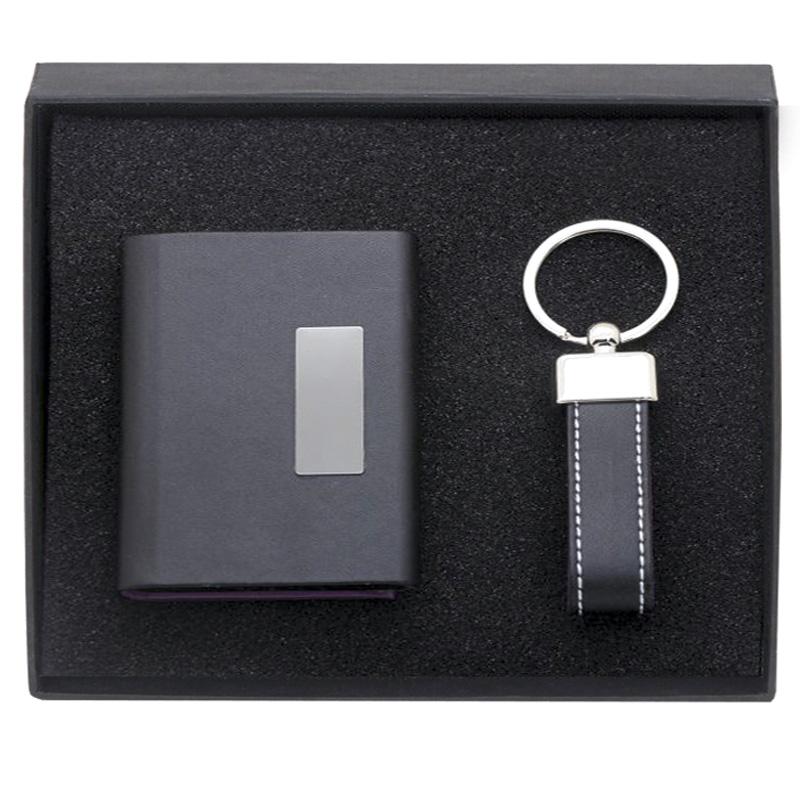 7 x 7 Inch Black Card case & Key Ring Casino Gift Set