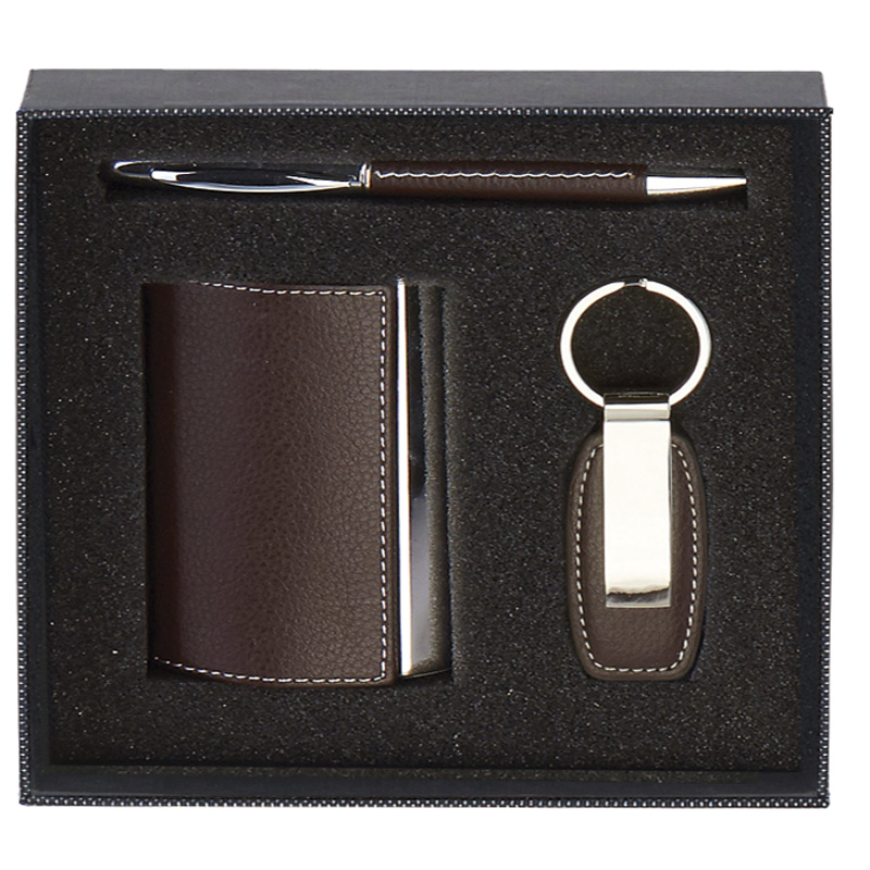 7 x 7 Inch Brown Card Case & Key Ring Casino Gift Set
