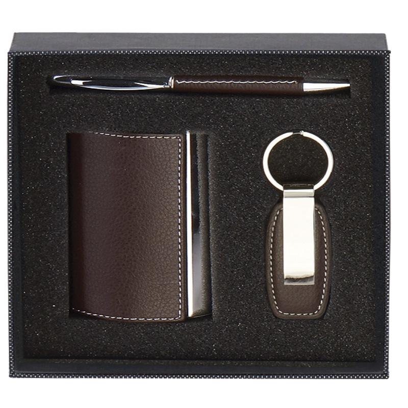 7 x 7 Inch Brown Card Case & Key Ring Casino Gift Set