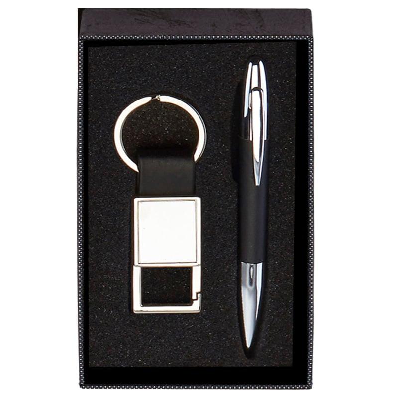 6 x 4 Inch Black Key Ring & Pen Scribe Gift Set