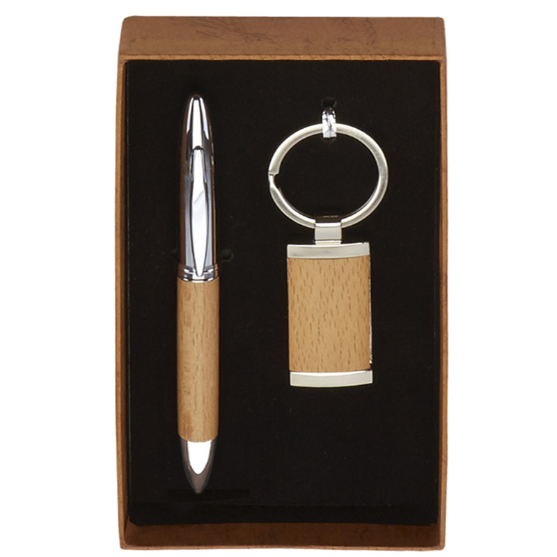 7 x 4 Inch Wood Effect Pen & Key Ring Scribe Gift Set
