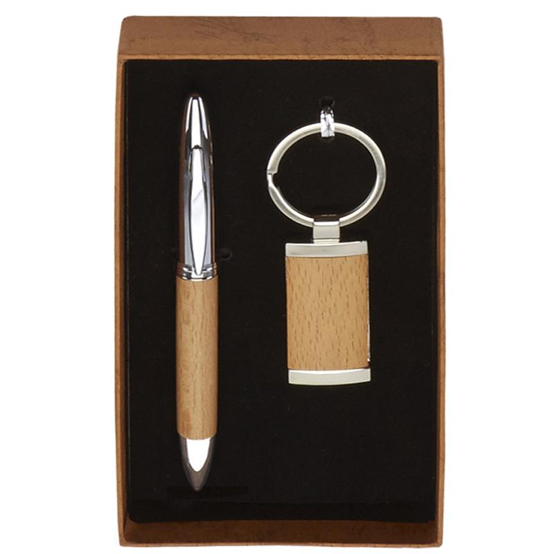 Wood Effect Pen & Key Ring Scribe Gift Set