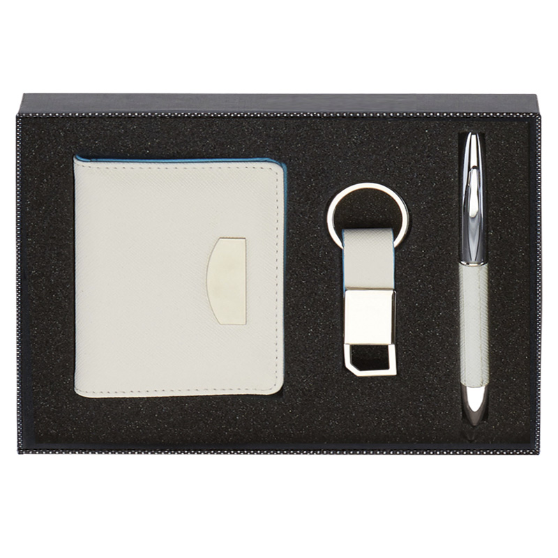 8 x 6 Inch White Wallet Key Ring & Pen Scribe Gift Set
