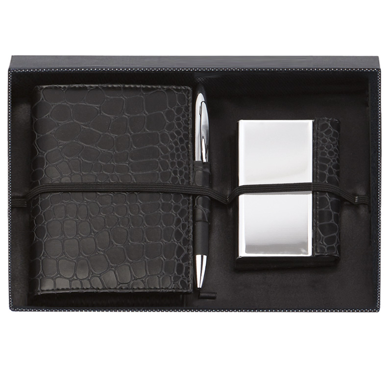 Black Notebook Card Case & Pen Scribe Gift Set
