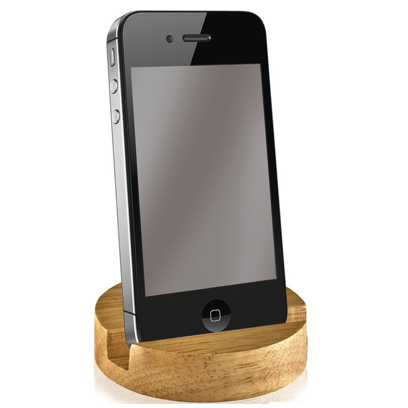 Round Bamboo Crown Phone Stand