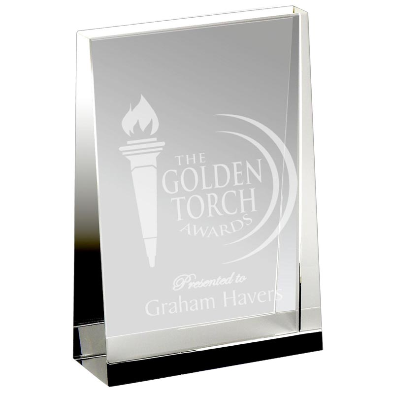 7 Inch Guardian Optical Crystal Wedge Award