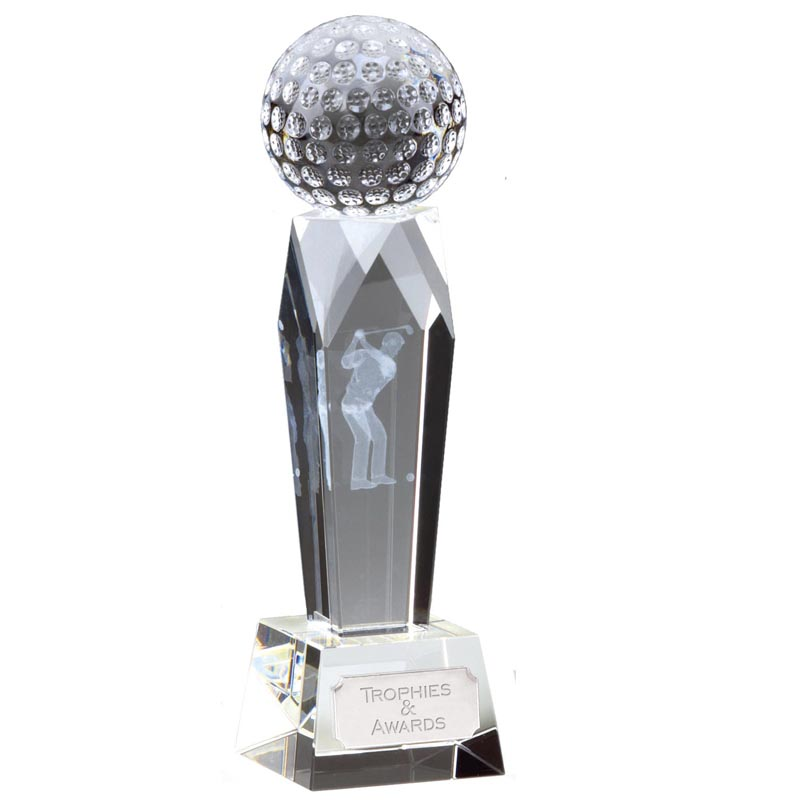 6 Inch Lasered Golfer Golf Campbell Optical Crystal Award