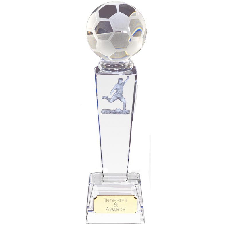 10 Inch Lasered Player & Ball Football Unite Crystal Award