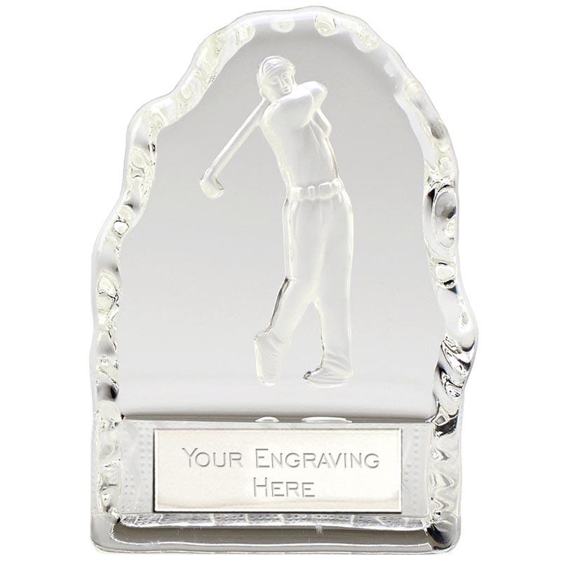 4 Inch Swinging Golfer Iceberg Golf Echo Glass Award