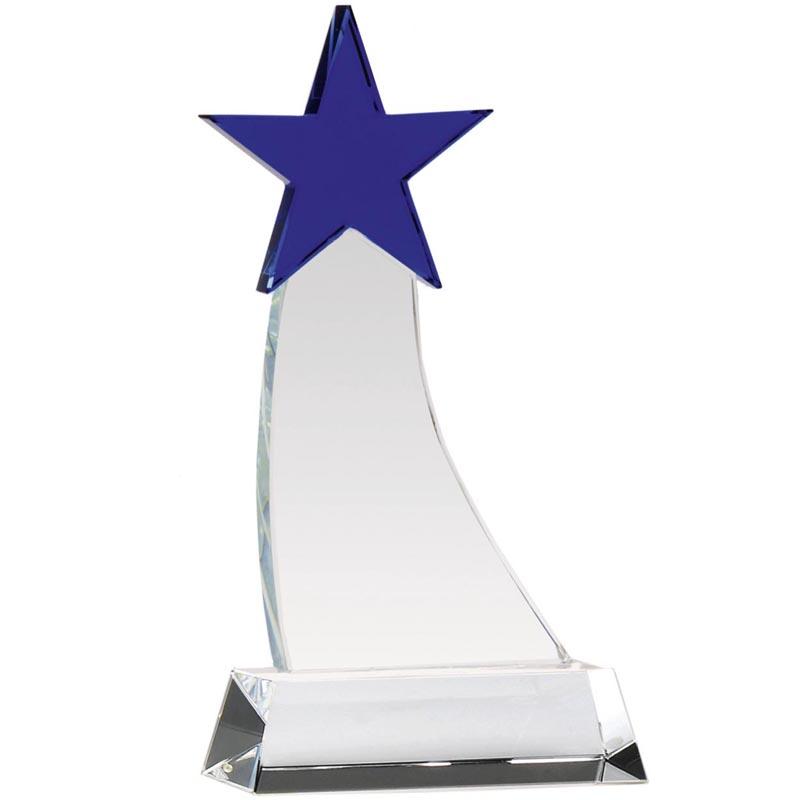 8 Inch Blue Star Aquarius Crystal Award