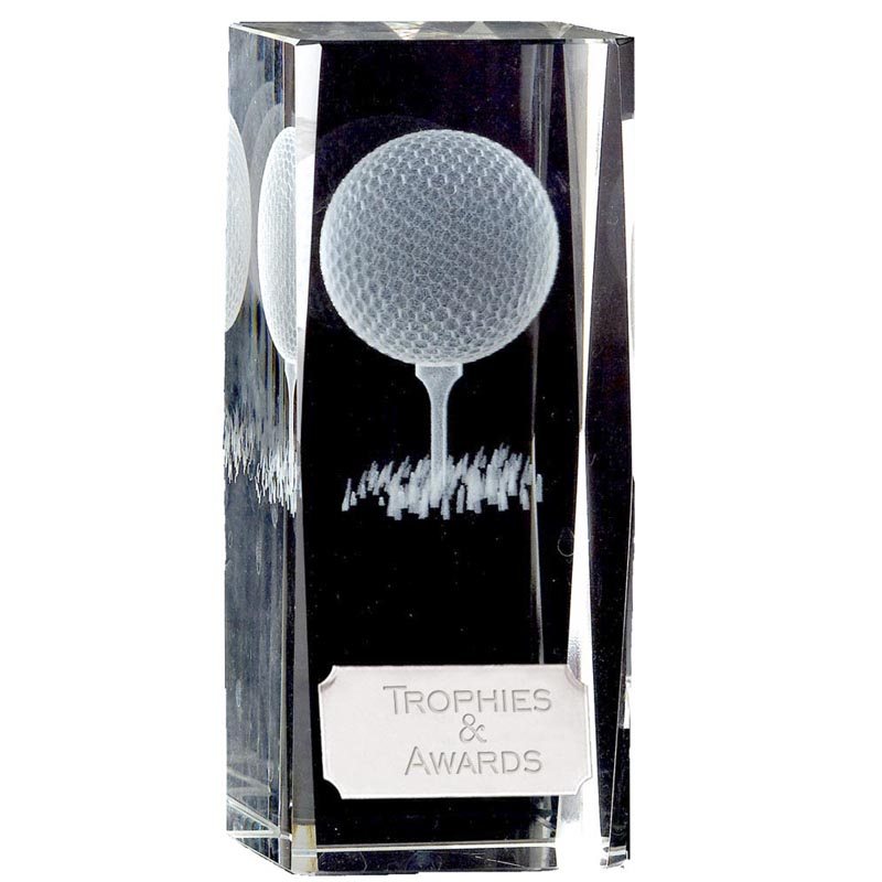 5 Inch Lasered Tee & Ball Inlay Golf Clarity Crystal Award