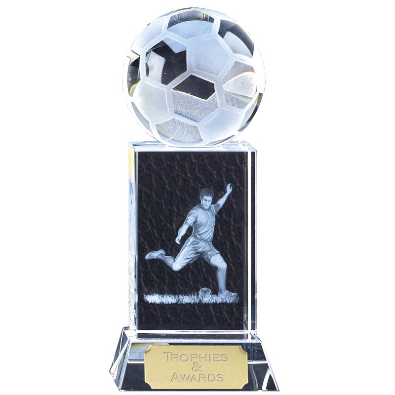 10 Inch Player and Ball Football Mercury Crystal Award