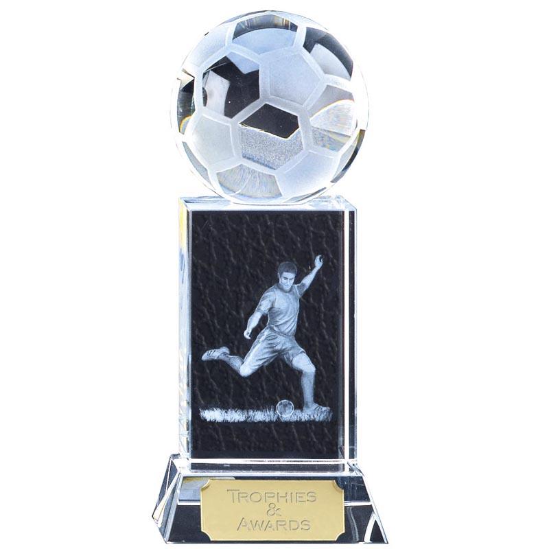 10 Inch Player and Ball Football Mercury Crystal Award
