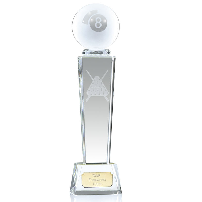 9 Inch Lasered Triangle and Cues Snooker & Pool Unite Crystal Award