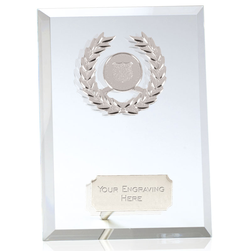 8 Inch Rectangular Silver Wreath Prime Glass Award