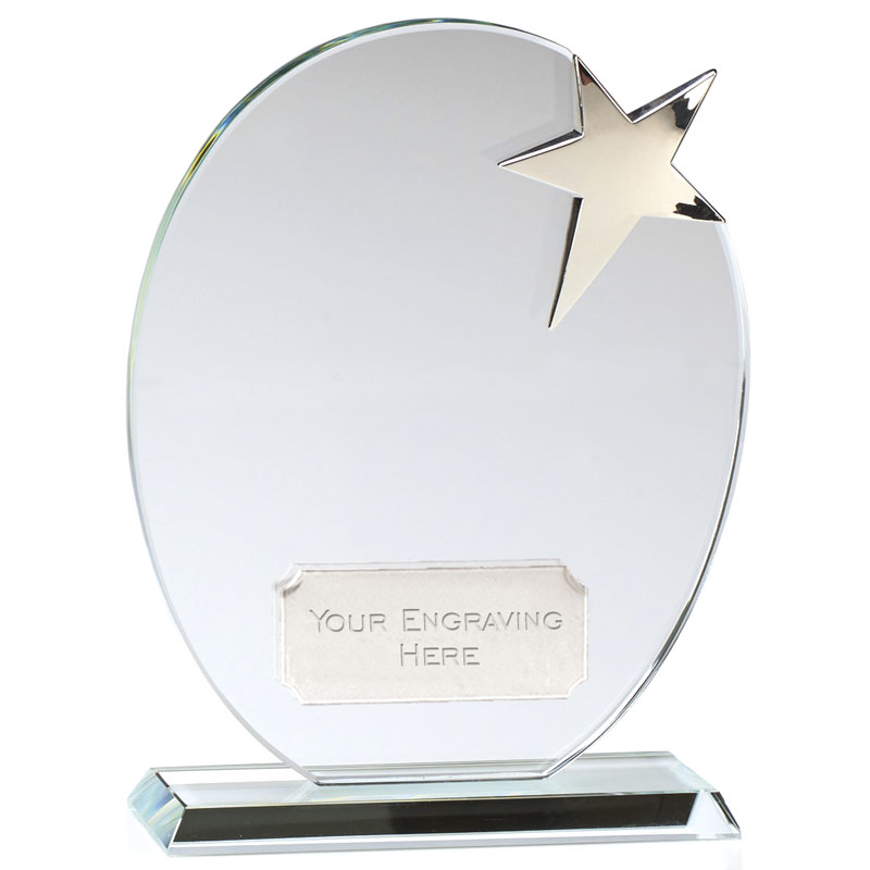 7 Inch Clear Oval & Silver Star Mission Crystal Award