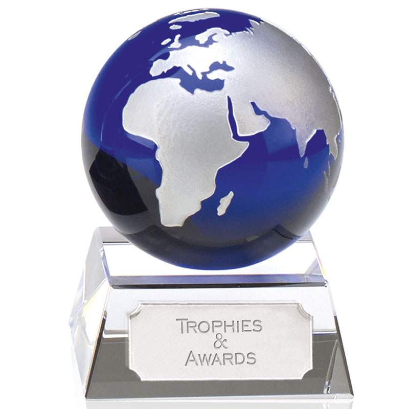 4 Inch Blue & Clear Mini Crystal Award
