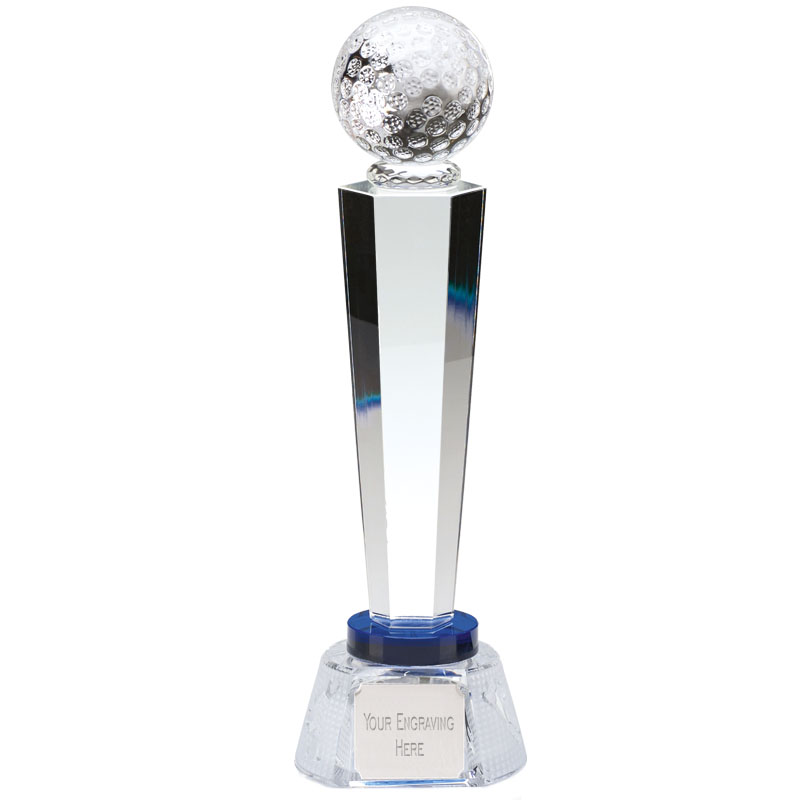 10 Inch Ball Atop Podium Golf Stewart Optical Crystal Award