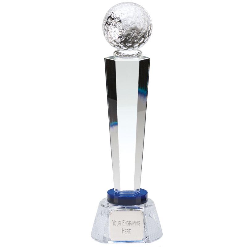 11 Inch Ball Atop Podium Golf Stewart Optical Crystal Award