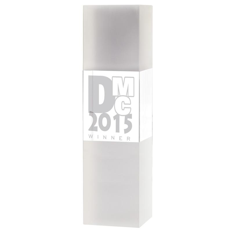 8 Inch Tall Block Excel Optical Crystal Award