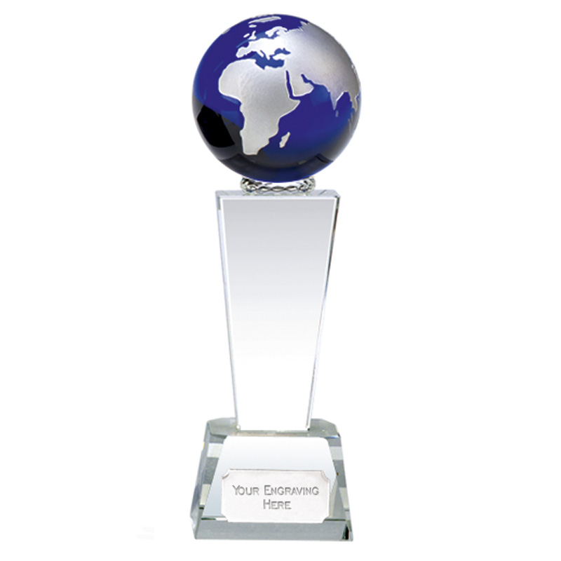 7 Inch Blue Globe & Clear Tower Unite Crystal Award