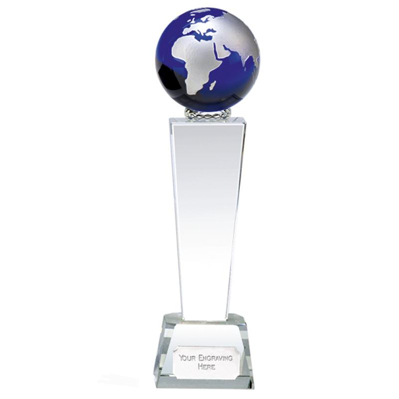 10 Inch Blue Globe & Clear Tower Unite Crystal Award