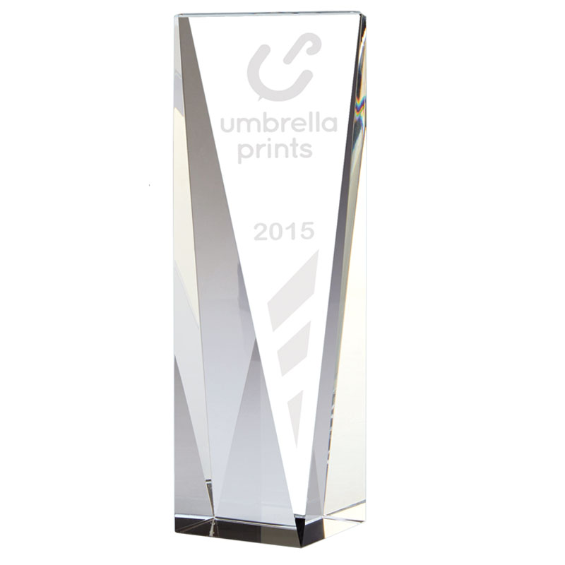 8 Inch Tall Angled Front Block Vantage Optical Crystal Award