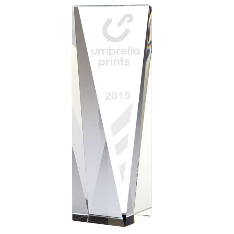 8 Inch Tall Angled Front Block Vantage Optical Crystal Award