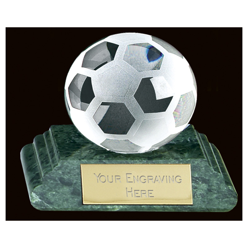 Green Marble Football Sportsman Crystal Award